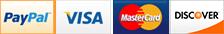PayPal, Visa, Amex, MasterCard, Discover